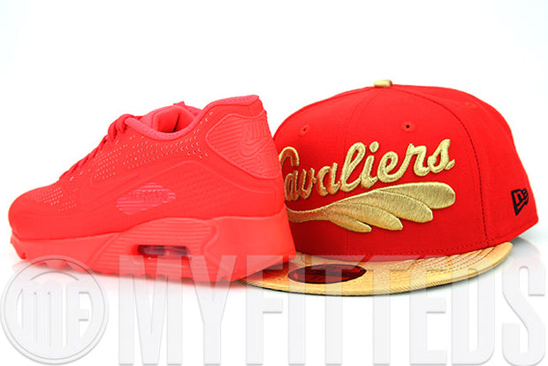 Cleveland Cavaliers Erupting Magma Metallic Gold Air Max 90 Ultra Moire New Era Fitted Cap