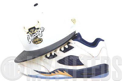 "Chicago Bulls Glacial White Faux Midnight Navy Suede Air Jordan V Low ""Dunk From Above""  New Era Snapback"