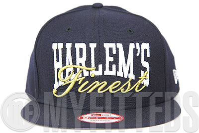 Harlem's Finest Midnight Navy Glacial White Metallic Gold Custom New Era 9FIFTY Snapback Hat