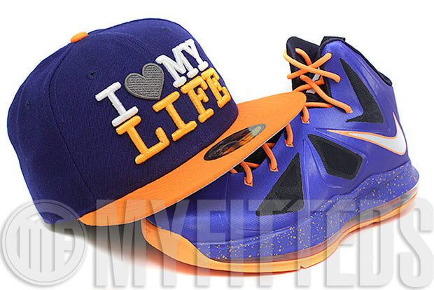 I Love My Life Galaxy Dark Royal Blue Highlighter Orange New Era Fitted Cap