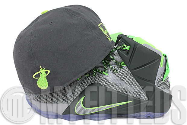 Miami Heat Carbon Graphite Electron Lime High Voltage Dunk Force LeBron XII Matching New Era Hat