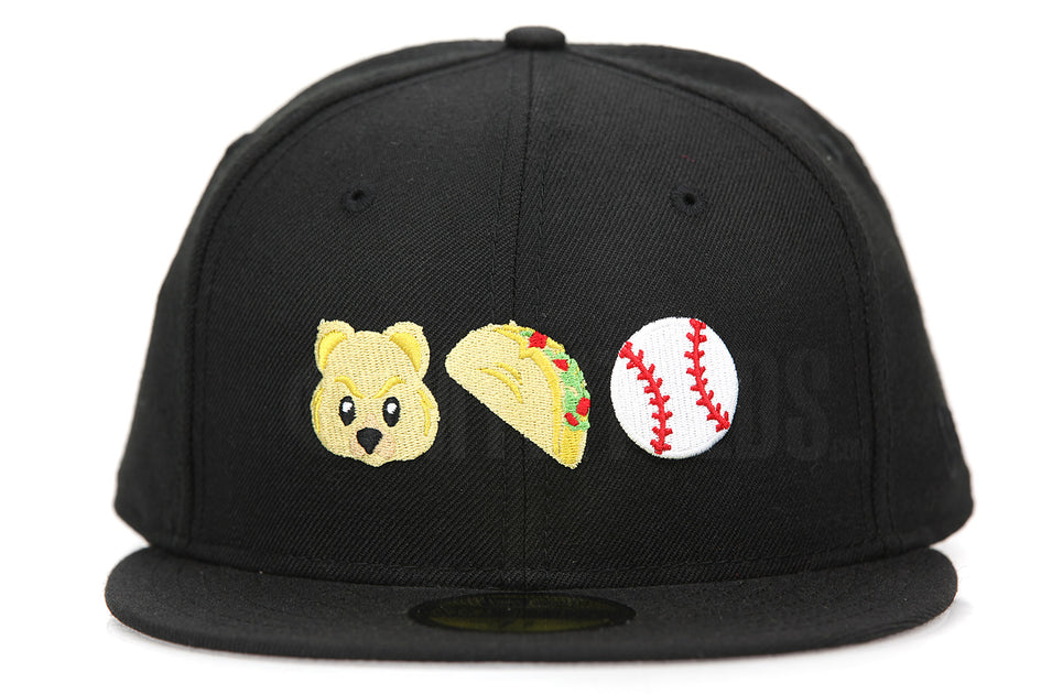 19309f26d FRESNO GRIZZLIES TACOS EMOJIS GRIZZLY, TACO, BASEBALL TEAM COLOR NEW ERA  59FIFTY FITTED HAT