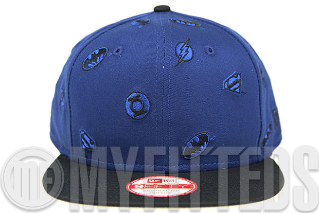 DC Comics All Stars Batman Flash Green Lantern Superman Scattered Heroes Original Fit New Era Snapback