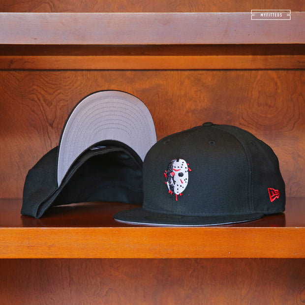 "FRIDAY THE 13TH JASON VOORHEES ""DIRTY BLOOD MASK"" JET BLACK NEW ERA FITTED CAP"