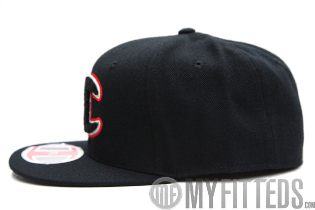 Champion Big C Chenille Jet Black Scarlet Classic Fitted Cap Hat