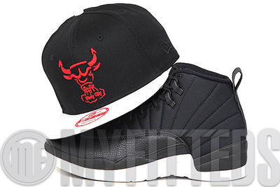 "Chicago Bulls Jet Black Glacial White Pebbled Air Jordan XII ""Neoprene"" Matching New Era Snapback"