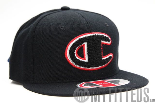 Champion Big C Chenille Jet Black Scarlet Classic Fitted Cap Hat b178a94e2afb
