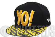 Yo! MTV Raps Jet Black Old Autumn Gold White Zebra Print Visor New Era Snapback