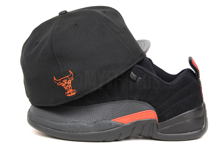 "Chicago Bulls Jet Black & Faux Pebbled Orangeade Air Jordan XII Low ""Black Max Orange"" New Era Hat"