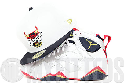 "Chicago Bulls Glacial White Midnight Navy Gold USA Flag Air Jordan VII ""Olympic"" New Era Fitted Cap"