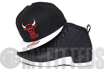 "Chicago Bulls Jet Black Glacial White Scarlet Air Jordan XII ""Neoprene"" Matching New Era Snapback Hat"