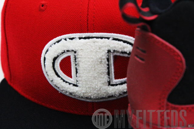 Champion Big C Chenille Scarlet Jet Black White Classic Snap Back