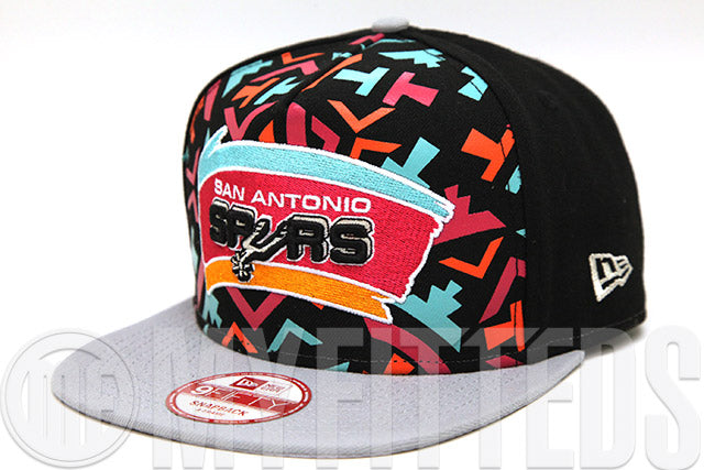 San Antonio Spurs NBA Logo Mural Jet Black Placid Gray Team Color A-Frame New Era Snapback Hat