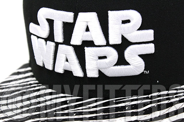 Star Wars Ostrich Zebra Stripe Leather Visor Jet Black White Metallic Gold New Era Strapback