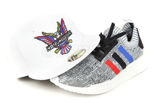 "Diplomats Big Eagle Omni Glacial White Adidas NMD_R1 PK ""Tri-Color"" Matching New Era Fitted Cap"