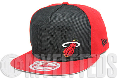 Miami Heat Black Red Mesh Reflective Flect Front Wordmark New Era Snapback Hat