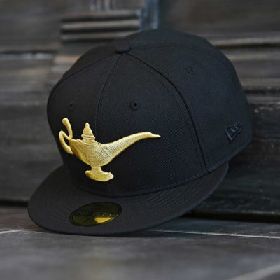 DISNEY ALADDIN THE LAMP JET BLACK METALLIC GOLD NEW ERA 59FIFTY FITTED CAP