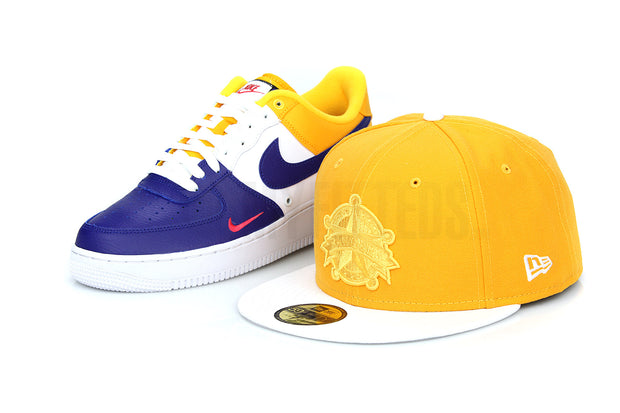 Texas Rangers Rich Gold Glacial White AF 1 Mini Swoosh Barcelona New Era Fitted Cap