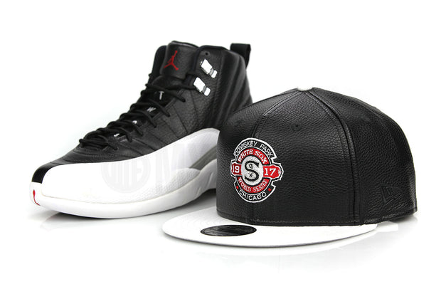 "Chicago White Sox 1917 World Series Jet Black Pebbled White Air Jordan XII ""Playoffs"" New Era Fitted Cap"