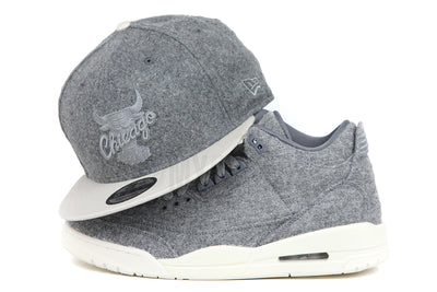 "Chicago Bulls Gray Melton Sandstone Carbon Graphite Air Jordan III Retro ""Wool"" Matching New Era Snapback"