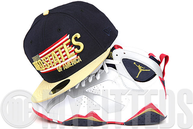 19950d3b570b92 UNITED STATES OF AMERICA   USA TO THE VICTOR GOES GOLD AIR JORDAN VII – My  Fitteds