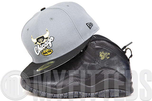 Chicago Bulls Wolf Storm Gray Jet Black Metallic Gold Air Jordan X CC NYC Matching New Era Hat