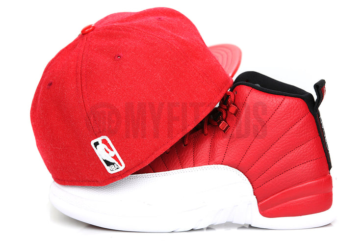 "Chicago Bulls 6x NBA Finals Champions Pin Air Jordan XII ""Gym Red"" Matching New Era Hat"