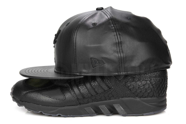 Chicago Bulls Trace Omni Jet Black Faux Leather Air Jordan V Premium Triple Black New Era Hat