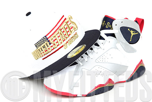 United States of America Glacial White Midnight Navy Metallic Gold Air Jordan VII Olympic New Era Fitted Cap