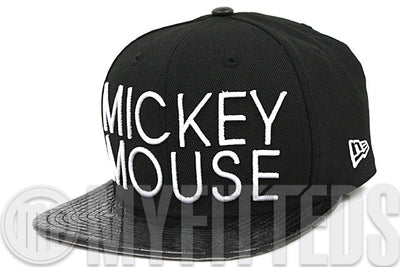 Mickey Mouse Sharp Word Jet Black & Faux Croc Skin Glacial White Original Fit New Era Strapback