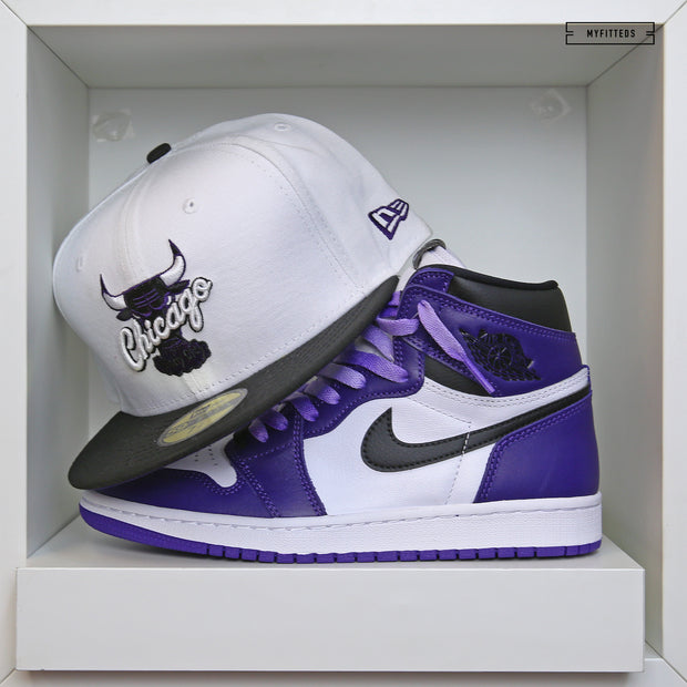 "CHICAGO BULLS AIR JORDAN I ""COURT PURPLE"" / XI ""CONCORD"" MATCHING NEW ERA FITTED CAP"