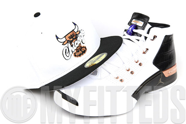 "Chicago Bulls Glacial White Jet Black Metallic Copper Air Jordan XVII ""Copper"" New Era Fitted Cap"