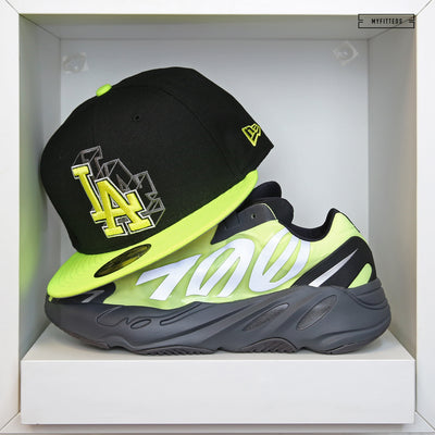 "LOS ANGELES DODGERS 3D ADIDAS YEEZY BOOST 700 MNVN ""PHOSPHOR"" NEW ERA FITTED HAT"