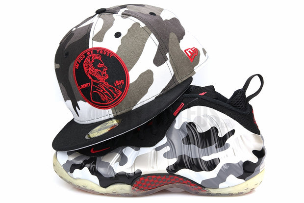 "Penny 1¢ One Cent Urban Camouflage Jet Black Air Foamposite One ""Urban Fighter Jet"" New Era Hat"