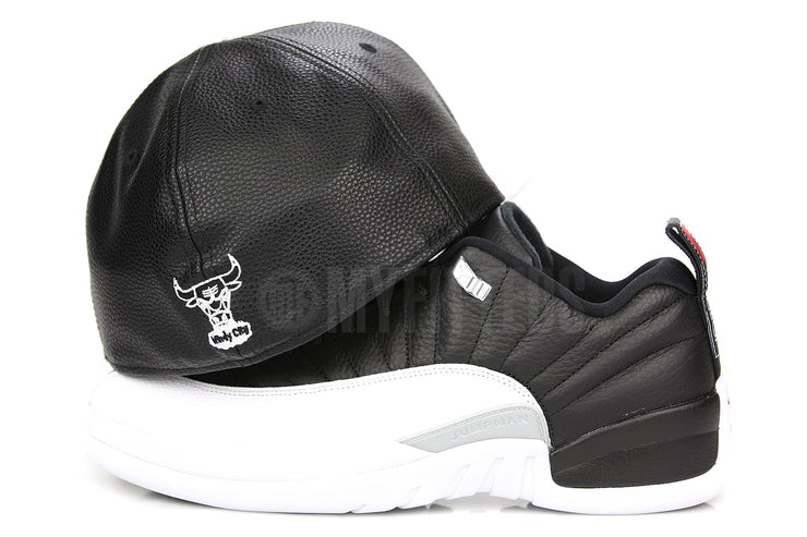 "Chicago Bulls Jet Black Faux Pebbled Air Jordan XII Low ""Playoffs"" Matching New Era Hat"
