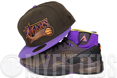 Philadelphia 76ers Mahogany Hyacinth Atomic Saffron Air Mowabb Trail End Brown Matching New Era Hat