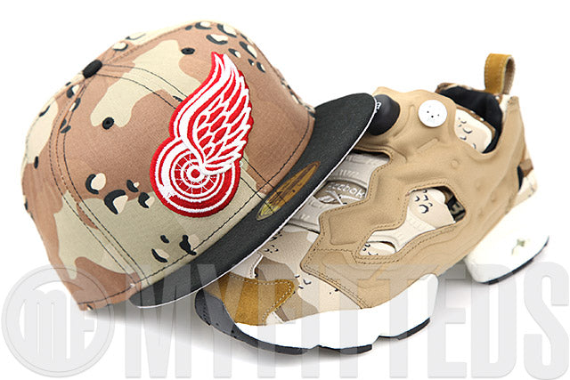 Detroit Red Wings Desert Storm 6 Day Camo Instapump Fury OG & Supreme Air Jordan V New Era Hat