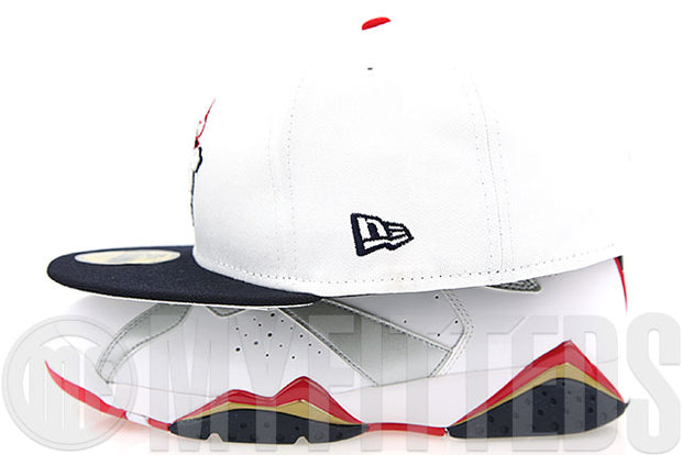 "Chicago Bulls Glacial White Midnight Navy Metallic Silver Air Jordan VII ""Olympic"" New Era Fitted Cap"