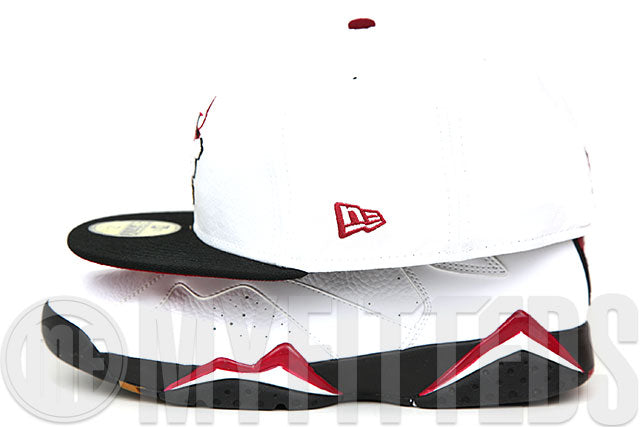 Chicago Bulls White Russet Sunset Brass Air Jordan VII Cardinal Matching New Era Fitted Cap