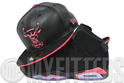 Chicago Bulls The Trace Black Faux Leather Infrared Gunmetal Infrared Retro 6 Matching New Era Hat