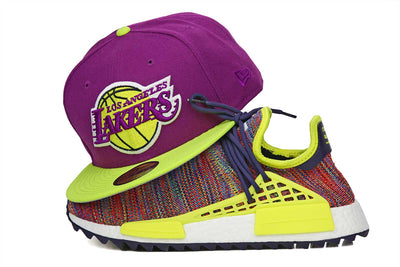 "Los Angeles Lakers Sparkling Plum Neon Yellow Kobe X ""Opening Night"" / PW HUMAN RACE NMD TR New Era Hat"