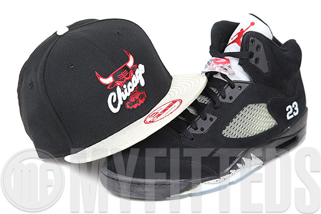 Chicago Bulls Jet Black Metallic Silver Scarlet Air Jordan V Black Metallic Silver New Era Snapback Hat