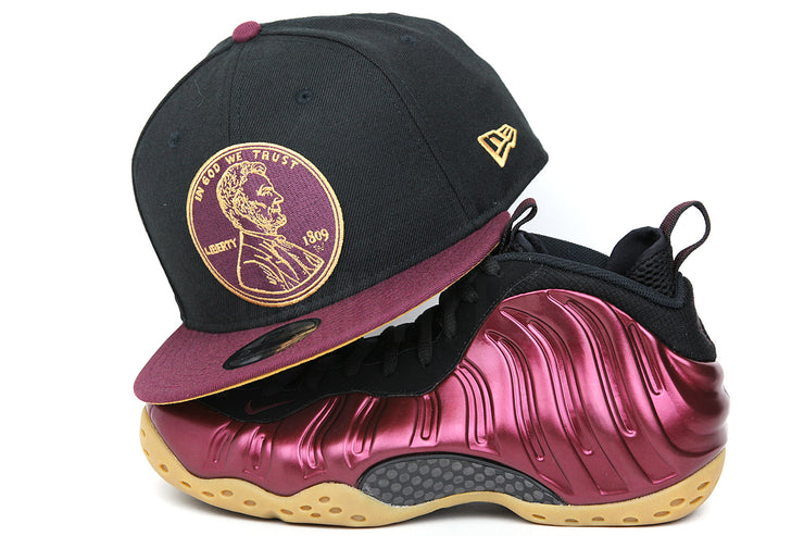 "Penny 1¢ One Cent Jet Black Intense Maroon Air Foamposite One ""Night Maroon"" New Era Snapback"