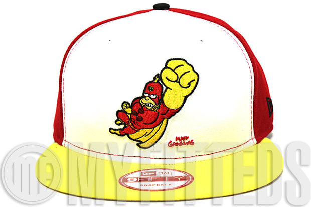 Radioactive Man Glacial White Front Panel Scarlet Red Tour Yellow The Simpsons 9Fifty New Era Snapack
