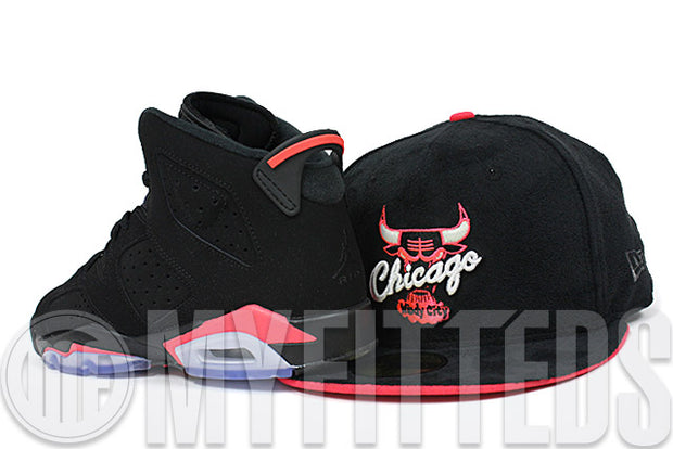 Chicago Bulls Jet Black Faux Suede Infrared Bliss Flip Air Jordan VI Infrared Matching New Era Hat