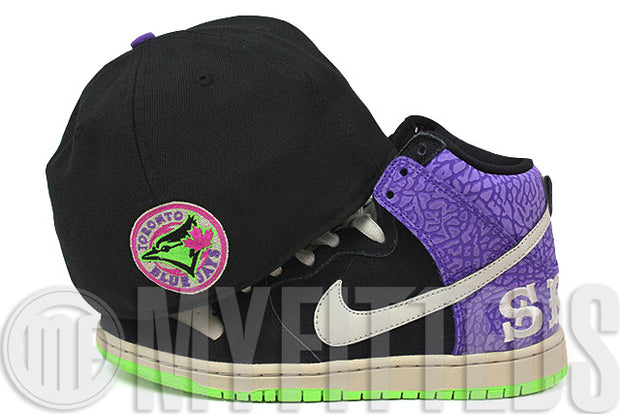 Toronto Blue Jays Jet Black Sand Stone Electron Lime Send Help II Dunk High SB New Era Fitted Cap