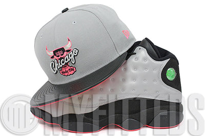 05a7af12808 Chicago Bulls Placid Gray Jet Black Faux Leather Infrared Bliss Air Jordan  XIII Reflective New Era