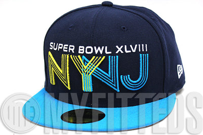 size 40 8163d c4bbb ... canada superbowl xlviii 48 ny nj navy blue aqua yellow nfl  commemorative new era fitted hat