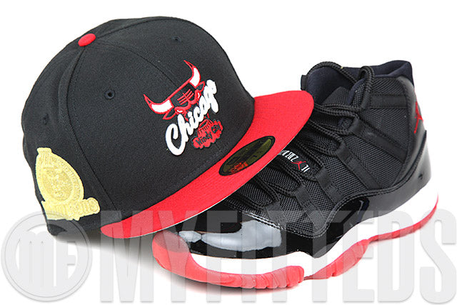 Chicago Bulls Jet Black Scarlet 1996 NBA Champions Patch All Gold All the Time Air Jordan XI New Era Hat