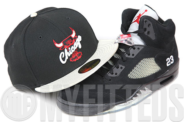 Chicago Bulls Jet Black Metallic Silver Scarlet Air Jordan V Black Metallic Silver New Era Fitted Cap